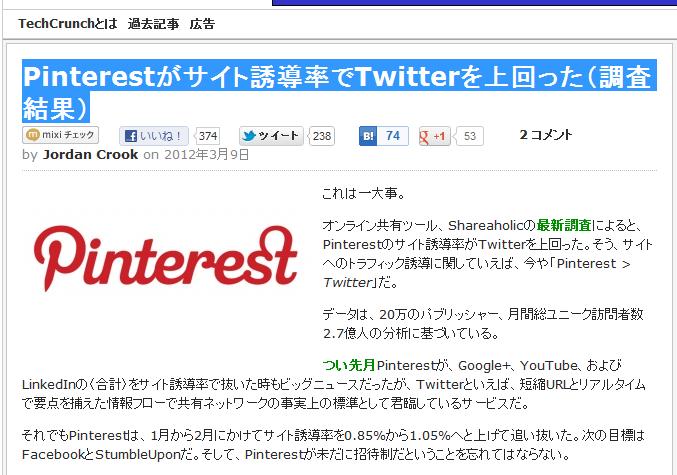 Pinterestがサイト誘導率でTwitterを上回った(調査結果)
